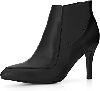 Allegra K Women's Stiletto Heel Pointed Toe Chelsea Booties