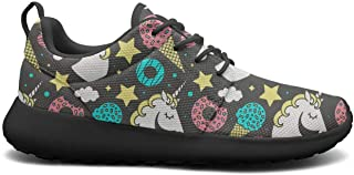 Happy Unicorn in The Flowers Black Plimsolls for Men Slip on Breathable and Lightweight Casual Shoes