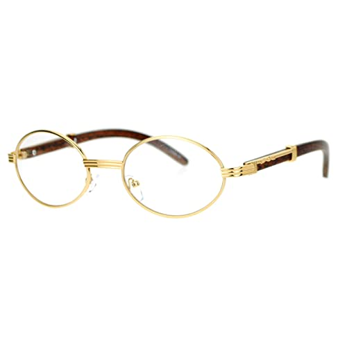 3aed9a451c40 Clear Lens Eyeglasses Unisex Vintage Fashion Oval Frame Glasses Yellow Gold