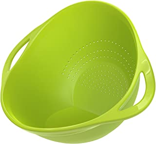 Nuovoware Kitchen Strainer, Plastic Colander Rice Washer Vegetable Fruit Washing Bowls with Handles for Cleaning Pasta - Green