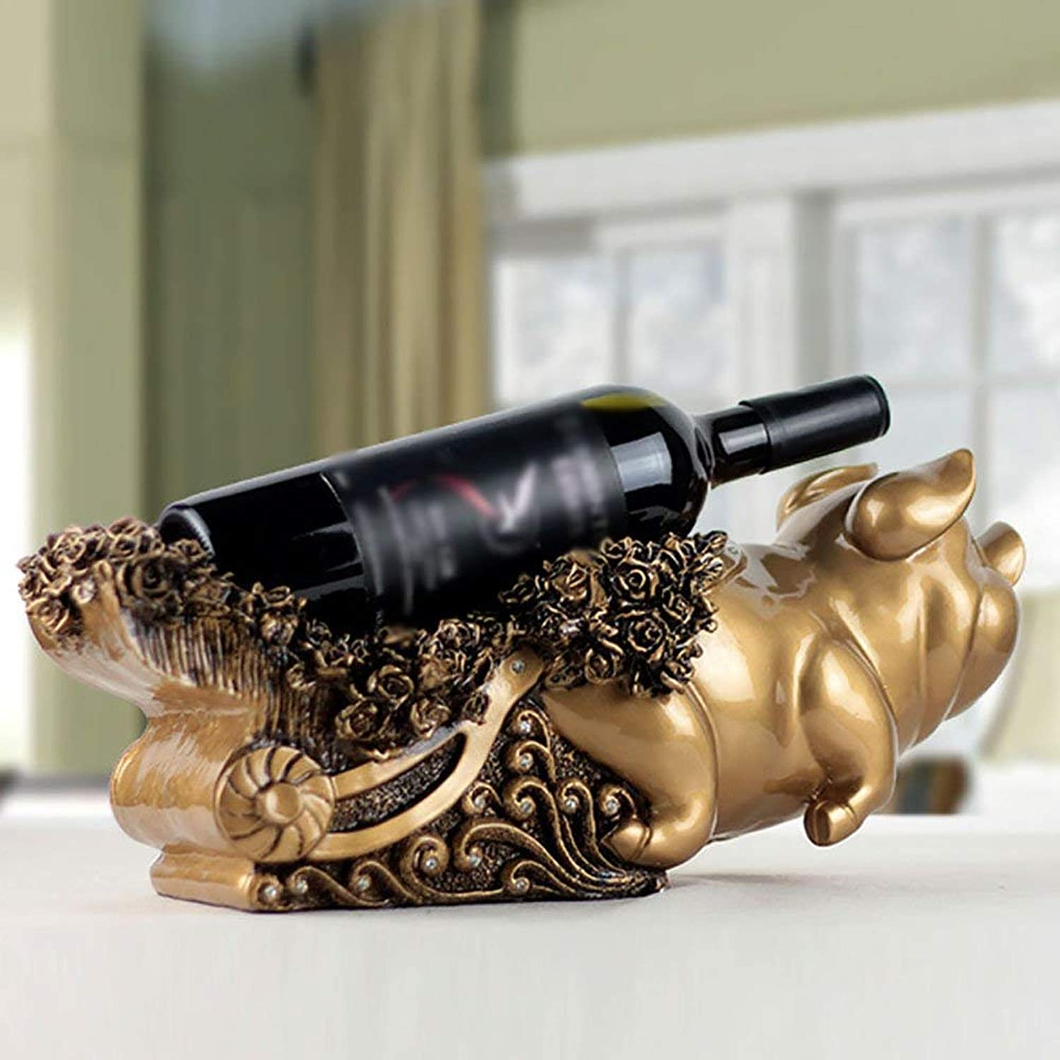 Red Wine Shelf Wine Rack Creative European Resin Blessing Pig Wine Rack Living Room Decorations Home Crafts (color   Silver) (color   gold)
