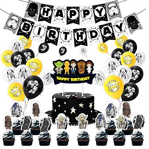 Geburtstag Dekoration Set, Stern_War Theme Happy Birthday Wimpelkette Banner Girlande & DIY Cake Topper & Latex Luftballons