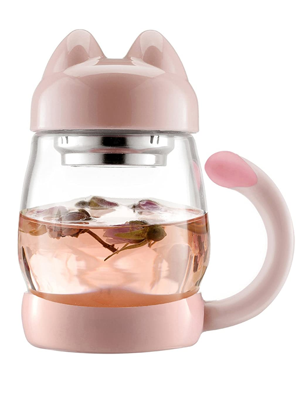 BZY1 14oz Glass Tea Cup with a Lid & Strainer Portable Cute Cat Tail Heat Resistant Mugs Free with a Coasters