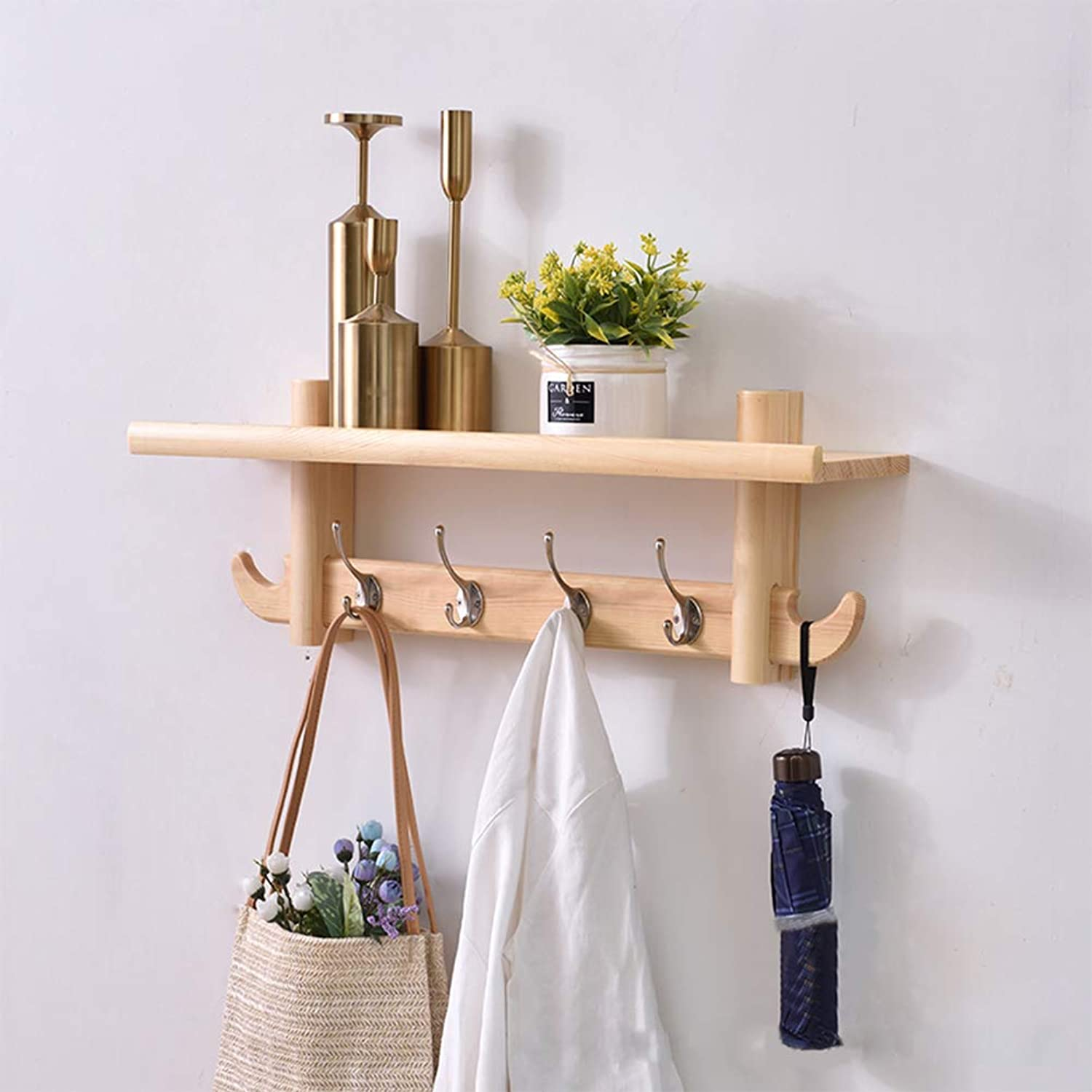 Coat Rack,Wall-Mounted European Style Solid Wood Punch Inssizetion Multifunctional Coat Rack for Entrance Hallway Bathroom Bedroom Study