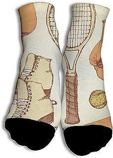 Roller Skates And Tennis Racket Funky Calcetines únicos de corte bajo con Transpirable para Niños Juego de fútbol