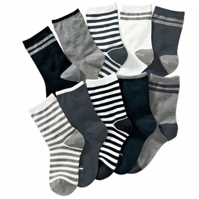 Kids Boys Striped Cotton Short Crew Socks Assorted 10-Pack