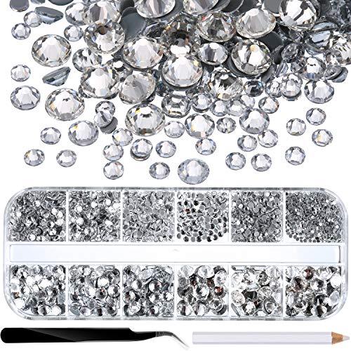 2000 Piezas de Diamantes de Imitación de Espalda Plana de Vidrio Hot Fix Gemas Cristales Redondas 1,5-6 MM (SS4-SS30) en Caja de Almacenamiento con Pinzas y Bolígrafos de Diamantes(Transparente)