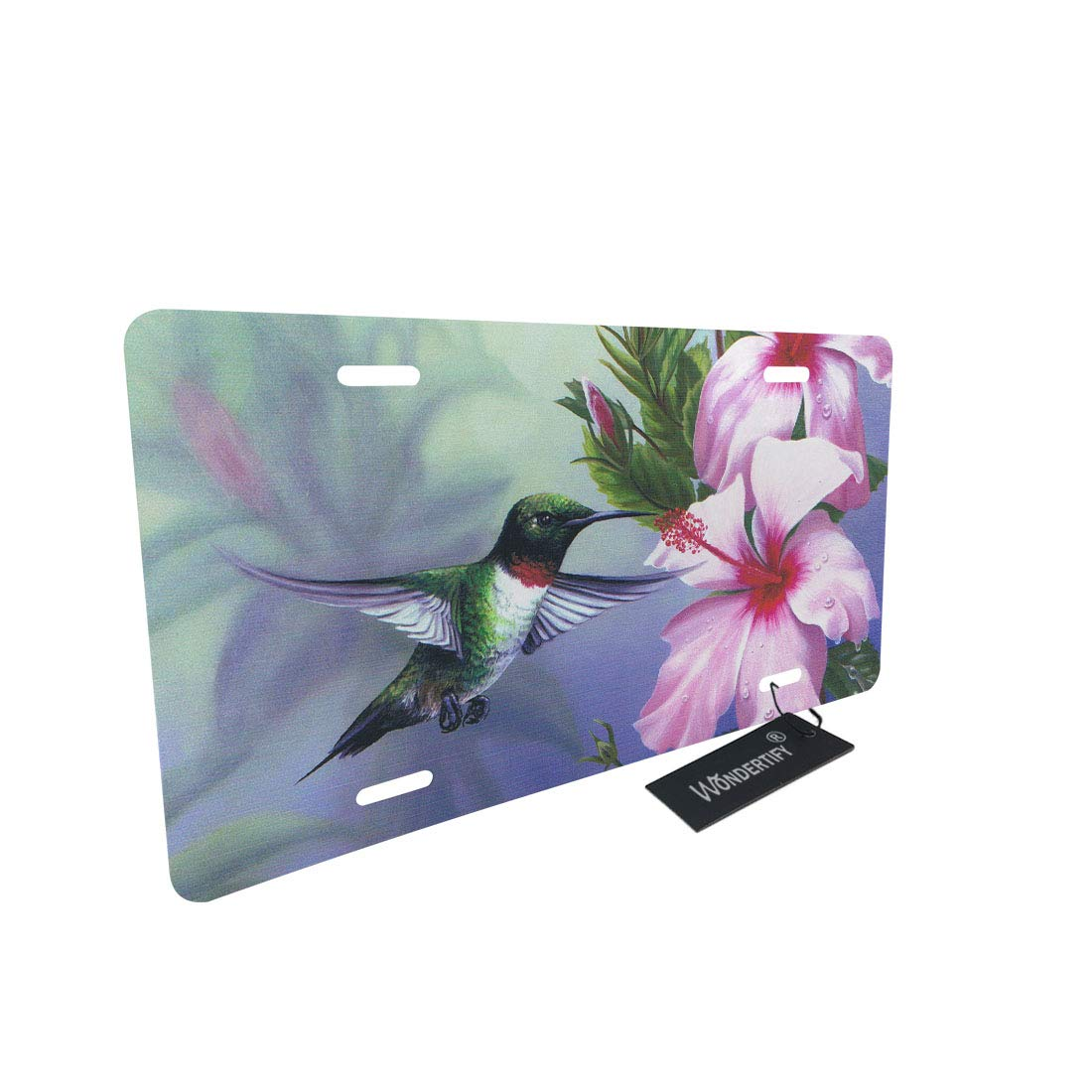 WONDERTIFY License Plate Bird Hummingbird Flay with Flower Pattern Decorative Car Front License Plate,Vanity Tag,Metal Car Plate,Aluminum Novelty License Plate for Men//Women//Boy//Girls Car,6 X 12 Inch
