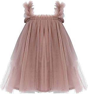 JEATHA Baby Girls Sleeveless Shoulder Straps Mesh Tutu Dress Sundress for Summer Casual Partywear