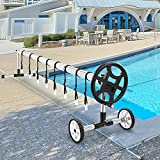 Swimming Pool Cover Reel Set Solar Cover Reel for Inground Pools 22.5 Feet Aluminum Solar Blanket Reel(Black)
