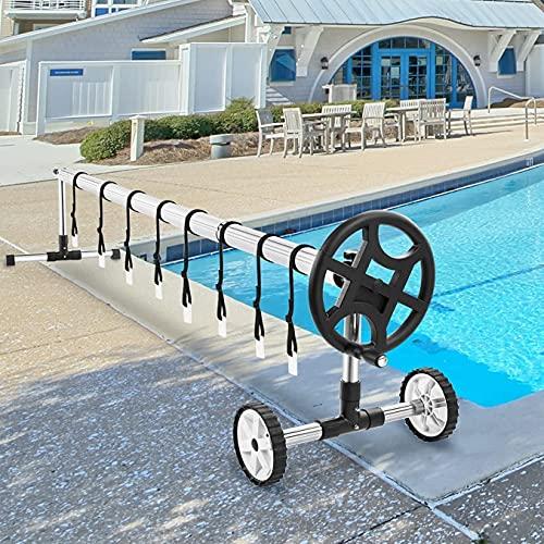 Swimming Pool Cover Reel Set Solar Cover Reel for Inground Pools 22.5 Feet Aluminum Solar Blanket Reel(Black)