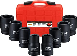 """Anbull 1"""" Drive Jumbo Impact Socket Set, 9 Pieces Universal Hex Deep Socket Set with Heavy Duty Storage Case, Metric and S..."""