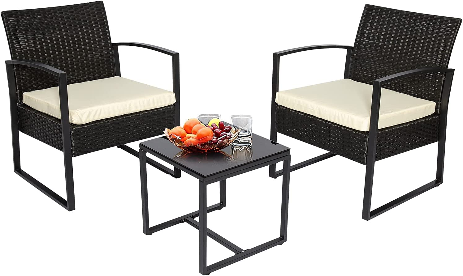 3 Pieces Patio Furniture Set, Outdoor Indoor Furniture Rattan Wicker Sets, Conversation Patio Set with Table for Garden, Lawn, Balcony (Beige Cushion)