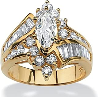 YIDAYAYI 18k Yellow Gold Color Diamond Irregular Marquise Shape trapezoidal Zirconia Ring for Women Girlfriend Princess Vi...