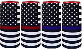 XccMe Neoprene Slim Can Sleeves Tow Color Flag Insulation Sleeve Soft Slim Can Cooler Insulators Fits for 12oz Energy Drink Red Bull White Claw and Seltzer Water (Blue Line Flag+ Red Line Flag4)