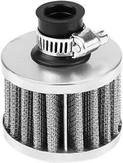 Kaltluftansaugfilter, 13mm Universal Clamp On Luftfilter, für Roller ATV Dirt Pit Bike Motorrad Kurbelgehäuse Entlüftungsdeckel Entlüfter (Silber)