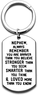 Inspirational Keychain For Niece Nephew Always Remember You are Braver Graduation Gifts