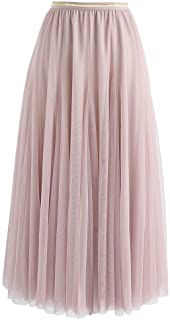 CHICWISH Women's Lilac/Cream/Grey/Pink/Black Layered Mesh Ballet Prom Party Tulle Tutu A-Line Maxi Skirt