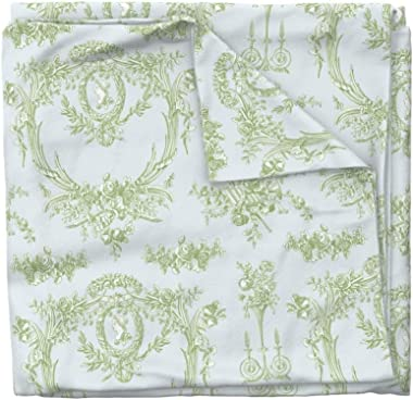 Roostery Duvet Cover, French Vintage Rococo Toile Shabby Chic Cottage Style Floral Classic Print, 100% Cotton Sateen Duvet Co