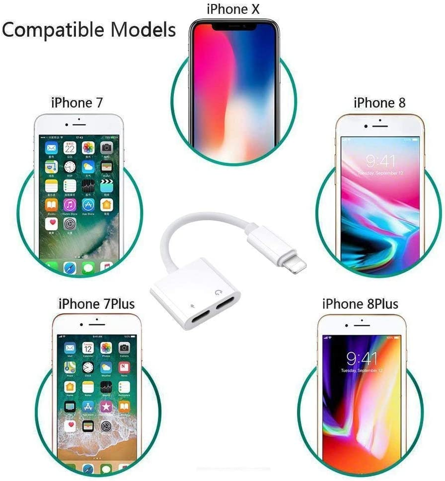 Headphone Adapter for iPhone 12 AUX Adapter Jack Cable Splitter Compatible with iPhone 12//11//X//XR//XS//8//7 Earphone Connector Dongle Audio /& Charger /& Call Support for All IOS Systems-White