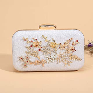 Women's Rhinestone Shiny Clutch, Party Dinner Bag, Party Bag, Bridal Wedding Bag, Suitable for Banquet, Cocktail Party, Graduation Ceremony (Color : White)