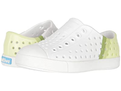Native Kids Shoes Jefferson Block (Toddler/Little Kid) (Shell White/Shell White/Cucumber Gradient) Kids Shoes