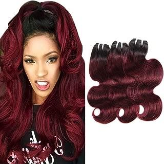 Ombre Brazilian Hair Weave 3 Bundles Body Wave 100% Human Hair 50g/ Bundle 1b99j Black To Red Wine Color Burgundy Virgin Hair Weaving 10 10 12 Inches For Women