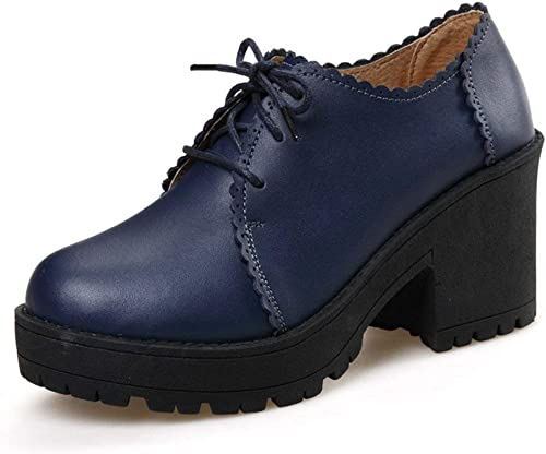 ZCW Chaussures polyvalentes décontractées , Chaussures en Cuir Chunky Heels chaussures of England, Chaussures à Talons Hauts, Talons Moyens, Chaussures épaisses, Chaussures en Cuir