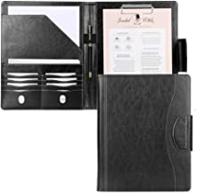 Portfolio Padfolio Case, Skycase Business Portfolio Folder, Resume/Conference/Legal Document Organizer with Letter/A4 Size Clipboard, Business Card Holders, Document Sleeve, Black