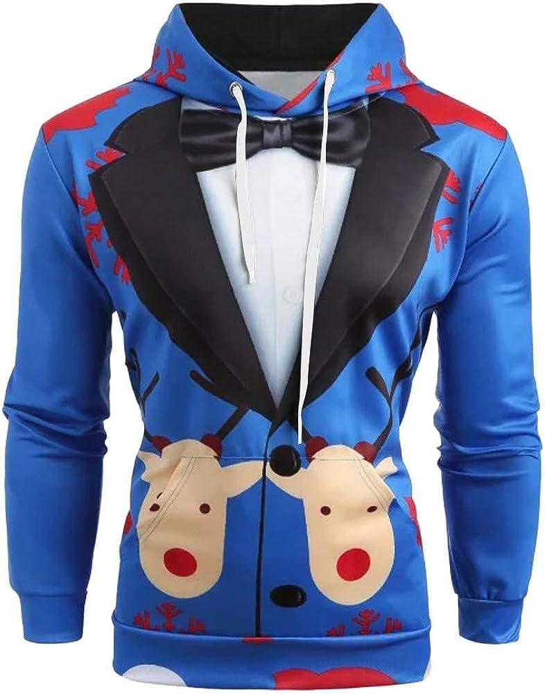 Ugly Christmas Hoodies, F_Gotal Men Christmas Suit 3D Pattern Suit Tie Print Long Sleeve Drawstring Hoodie Pullover