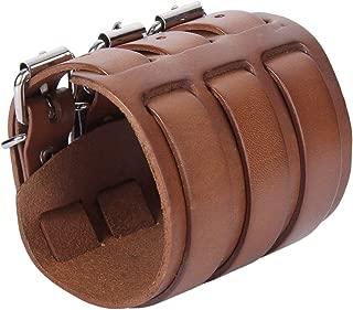 EVER FAITH 3 Layer Wide Belt Genuine Leather Men Wristband Bracelet Unisex Couple