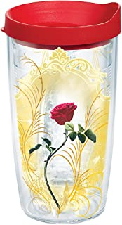 Tervis 1263789 Disney - Beauty and the Beast Rose Insulated Tumbler with Wrap and Red Lid, 16oz, Clear
