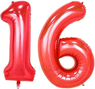 ZiYan 40inch Red Number 16 Balloon Party Festival Decorations Birthday Anniversary Jumbo foil Helium Balloons Party Supplies use Them as Props for Photos