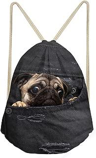 Black Denim Pocket Pug Dog Printing Backpacks for Women Men Drawstring Bags