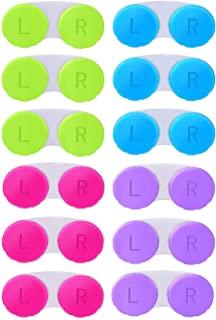 KISEER 12 بسته رنگی تماس با لنز جعبه جعبه نگهدارنده کانتینر خیس کیت ذخیره سازی