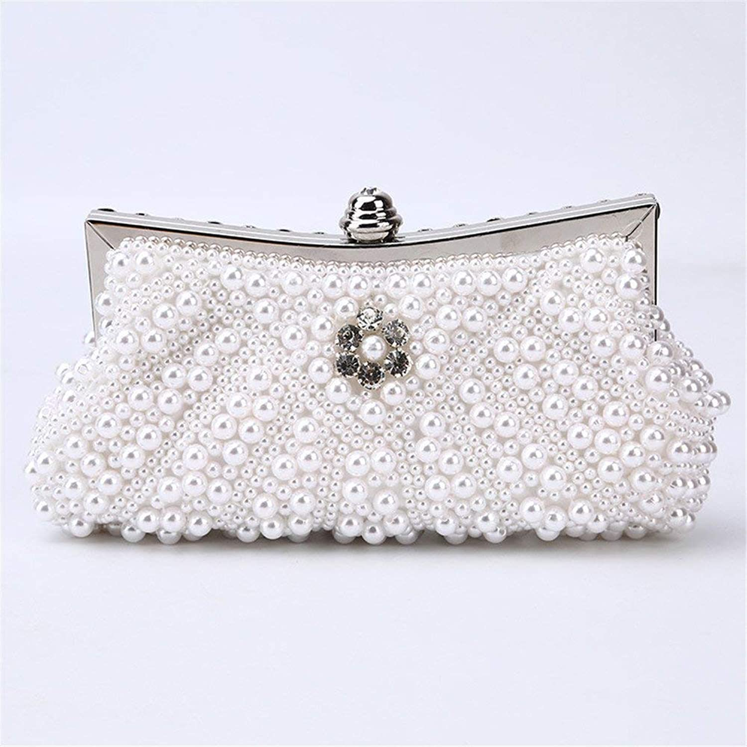 Clutch Bag Ladies Evening Bag Handbag Prom Bag Purse Lady Pearl Beaded Rhinestone Women's Clutch Wallet Evening Hand Bag Bridal Wedding Handbag Prom Clutch Purse Dinner Purse (color   White)