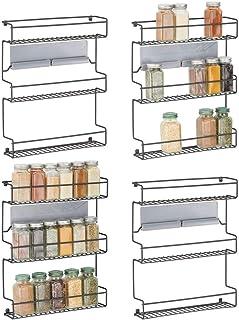 mDesign (lot de 4) étagère de cuisine à 3 niveaux – rangement de cuisine en métal – idéal comme range épices et pour organ...