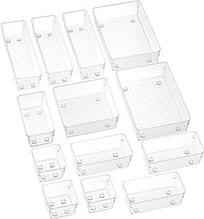 SMARTAKE 13-Piece Drawer Organizers with Non-Slip Silicone Pads, 5-Size Desk Drawer Organizer Trays Storage Tray for Makeu...