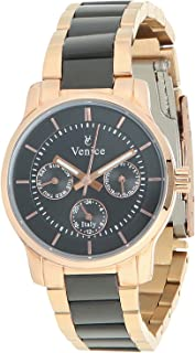 Venice F5016-IPC-IPB-B Two-Tone Stainless Steel Round Analog Watch for Women - Black and Gold