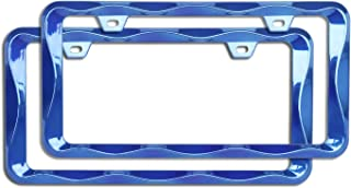 Sgooky 3D Curly Wave Pattern License Plate Holder Chrome License Plate Frame from Pure Zinc Alloy Metal Perfect Plate Holder (2pcs, Shining Blue)
