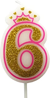 PartyMart Number 6 Giltter Candle, Pink Number 6