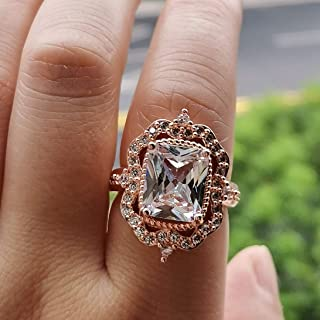 XIALV 7 ct Vintage Rose Gold Tone Cubic Zirconia CZ Ring Women's Wedding Engagement Statement Ring Gift