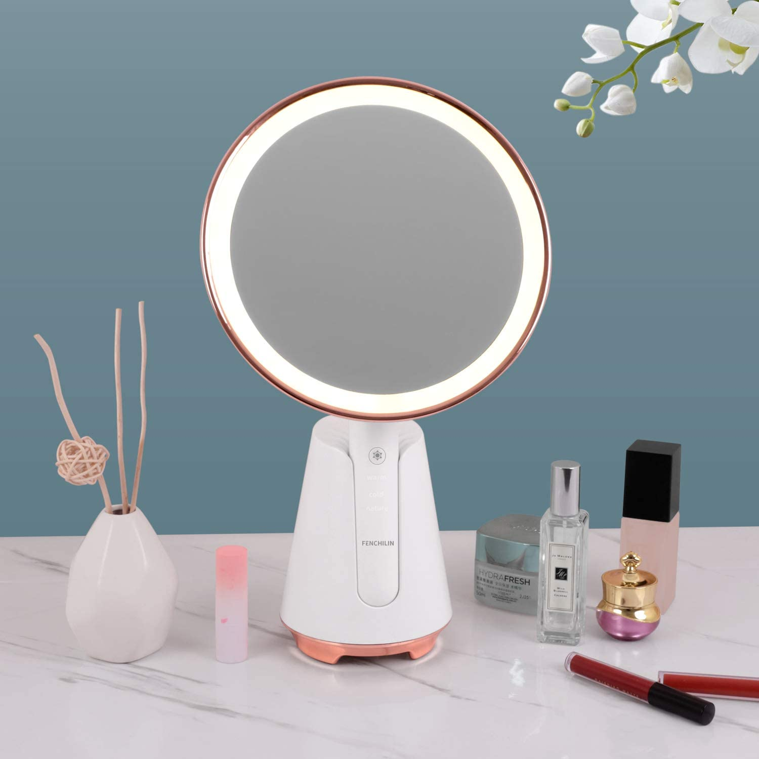 FENCHILIN Vanity Tabletop Makeup Mirror Challenge the lowest price Spe Bluetooth with Light Challenge the lowest price