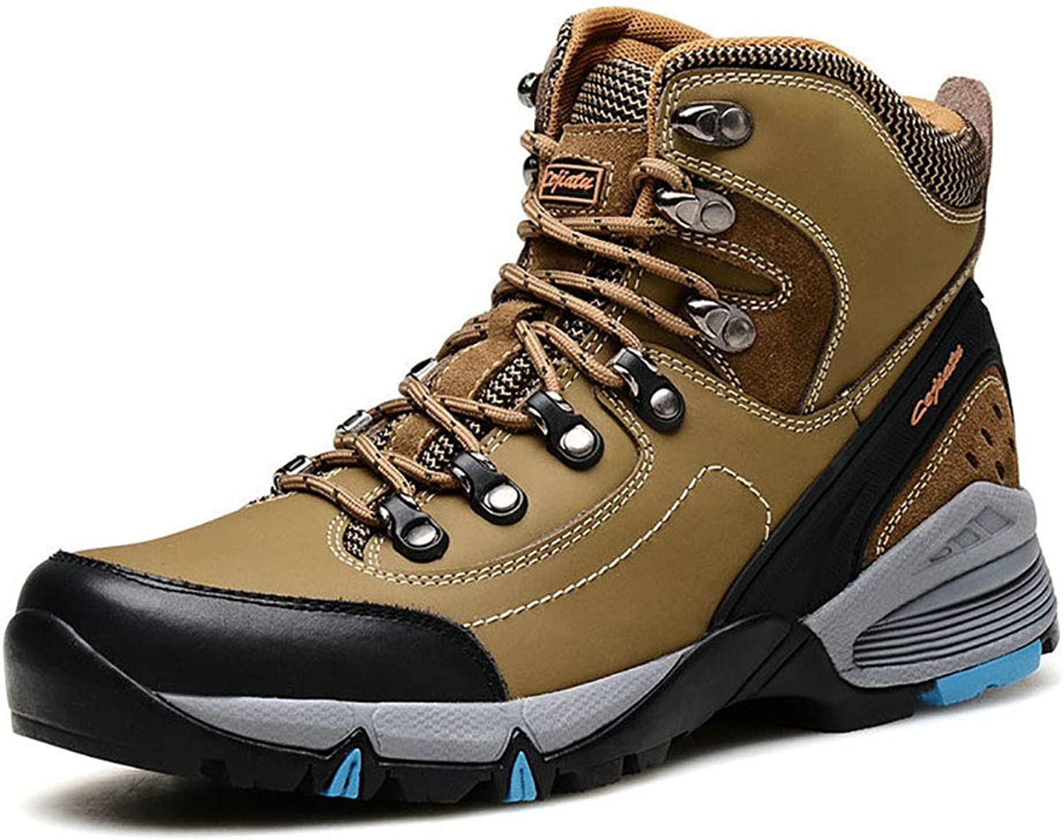 Men's shoes Winter Warm Snow Boots Leather Outdoor Hiking Trekking shoes Lace up Waterproof Non Slip Antiskid,khaki,39