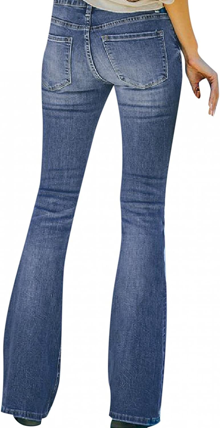 Dunacifa Jeans for Women High Waisted Stretchy Distressed Wide Leg Boyfriends Jeans Loose Fit Butt Lifting Denim Pants