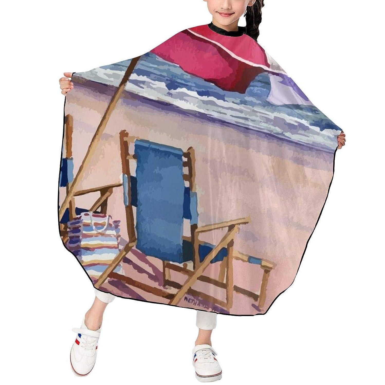 彼ら恥ずかしさ狂う海辺と傘 椅子 のんびり 散髪ケープ ヘアーエプロン キッズ ヘアカット 自宅 美容院 理髪 操作やすい 散髪マント 撥水加工 静電気防止 柔らかい つるつる 高級感 おしゃれ 男女兼用 プレゼント