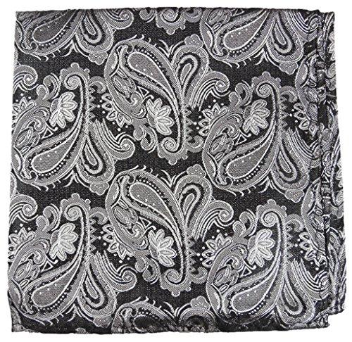 Paul Malone de carré de poche mouchoir 100% soie Noir paisley