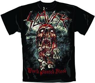 T-Shirt (Unisex S)World Painted Blood Skull Black
