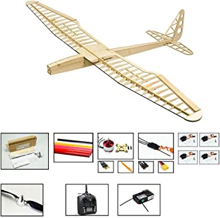 RC Airplane Kit F16 Glider Sunbird Sailplane, 1.6M Laser-Cut Balsawood Glider Plane for Adults, 4CH Radio Controlled Glider Electric RC Aeroplane Kit with Motor ESC Servo+TX/RX701 (Left hand Throttle)