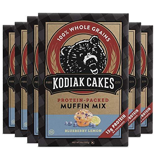 Kodiak Cakes Power Bake, Protein Muffin Mix, Blueberry Lemon, 14 Ounce (Pack of 6)